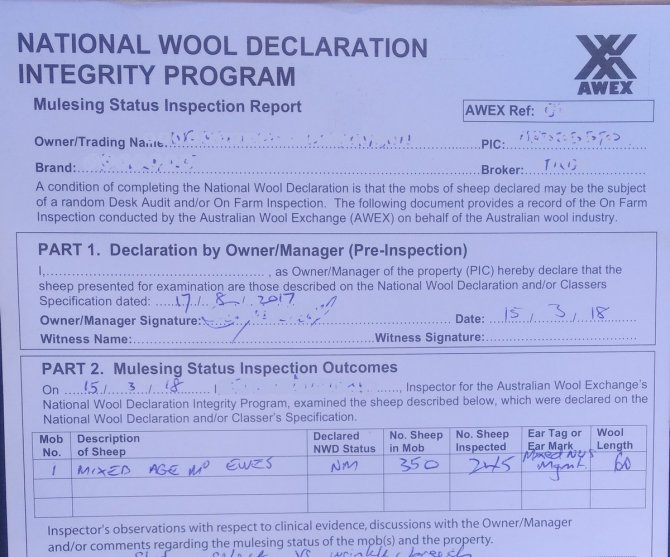 Figure 3. Example of a NWD-Integrity Program Inspection Report.  Source:  AWEX.